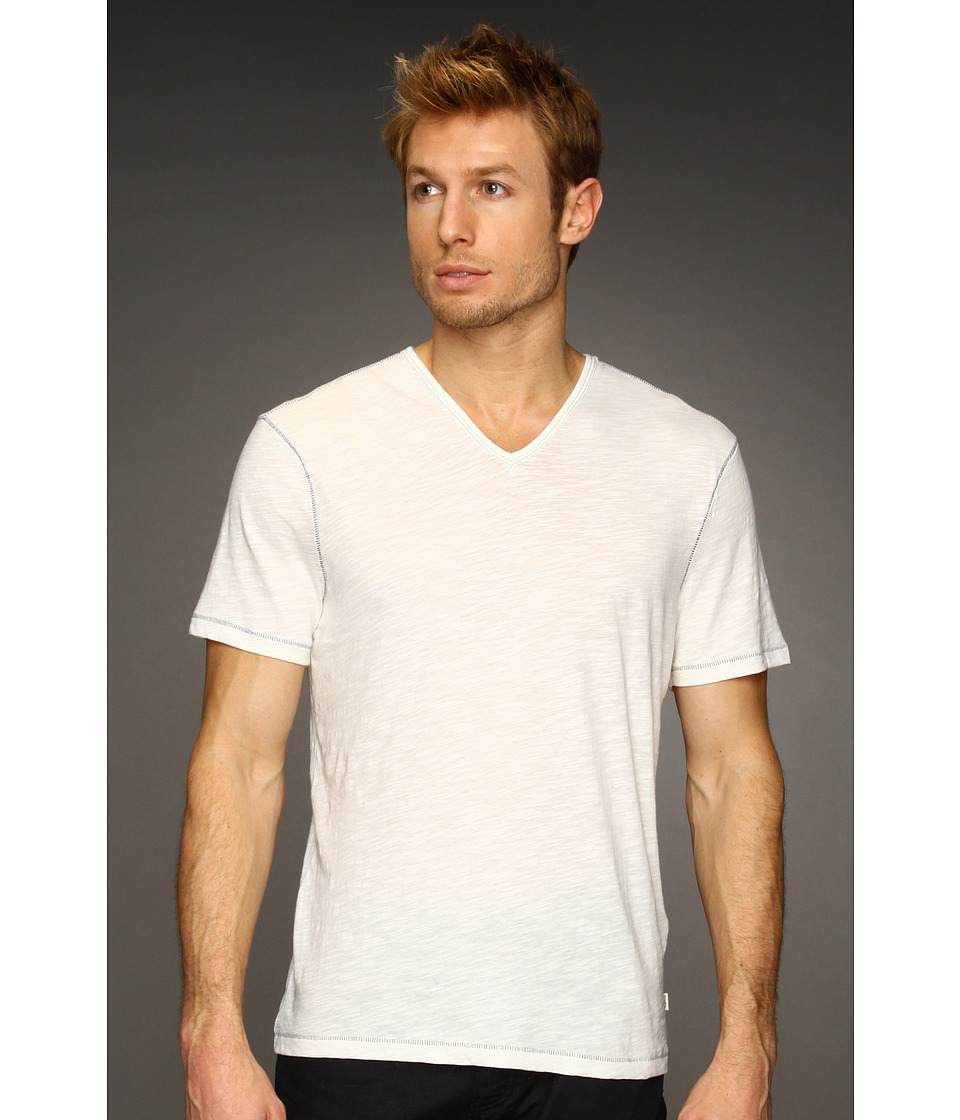 John Varvatos Star USA SS Slub V Neck Tee K677K2B Salt Mens T Shirt