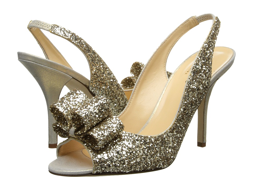 Kate Spade New York Charm Heel (Platinum Glitter/Gold Liquid Suede) High Heels