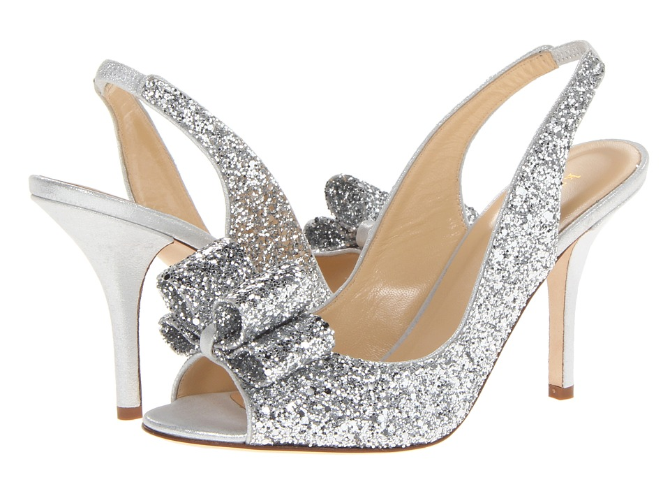 Kate Spade New York - Charm Heel (Silver Glitter/Silver Liquid Suede) High Heels