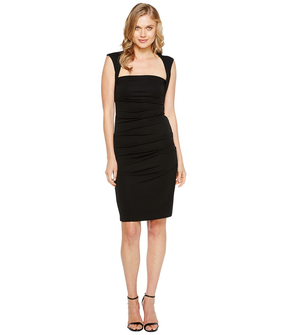 Nicole Miller Sleeveless Jersey Tuck Dress Black Womens Dress