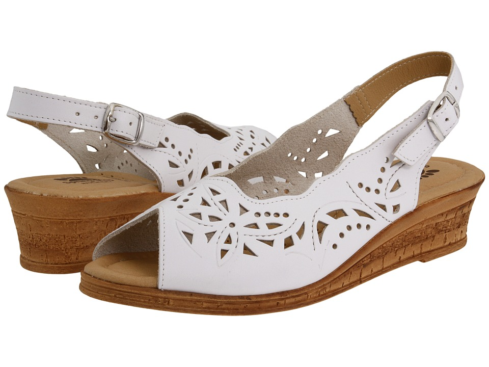 Spring Step Orella (White Leather) Wedges