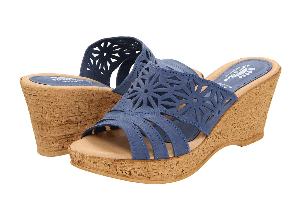 Spring Step - Dora (Blue) Womens Wedge Shoes
