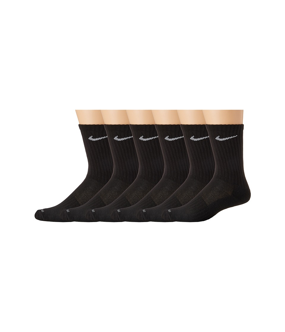 Nike Dri-Fit Crew 6-Pair Pack (Black/(White)) Crew Cut Socks Shoes