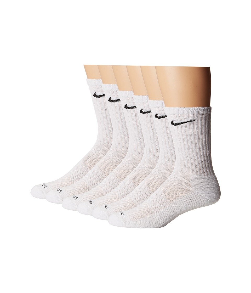 Nike Dri-Fit Crew 6-Pair Pack (White/(Black)) Crew Cut Socks Shoes