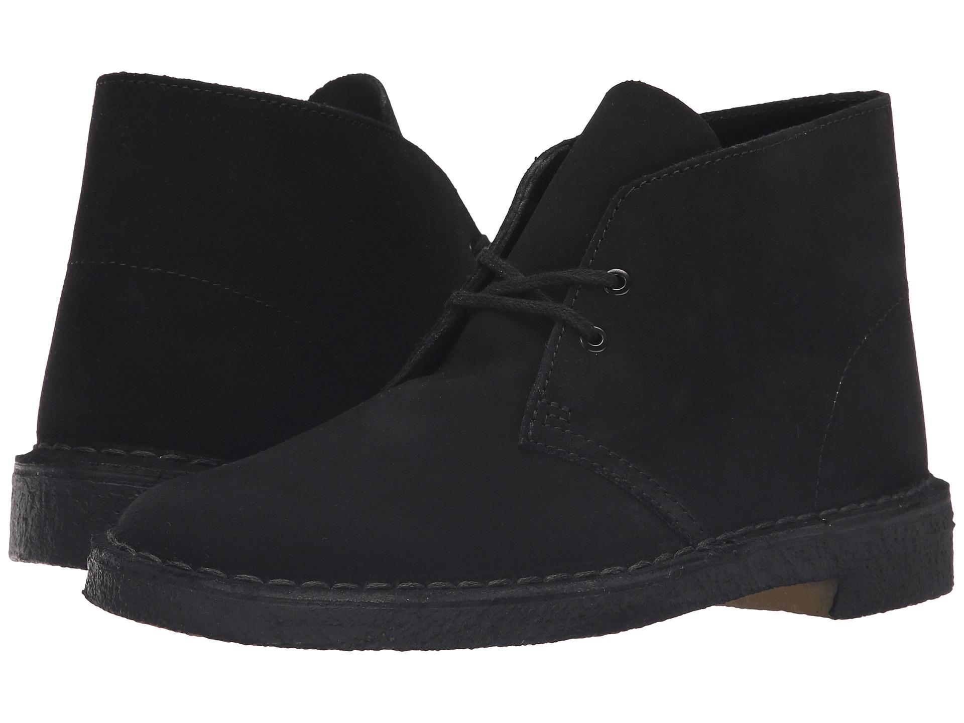 Clarks Desert Boot Black Suede Grey Zappos