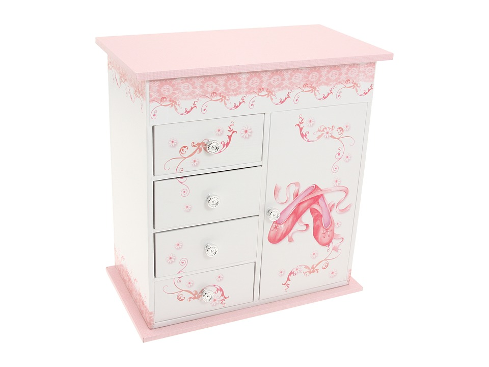 Mele Cristiana Girls Ballerina Musical Jewelry Box Top Opening White/Pink Jewelry Boxes Small Furniture