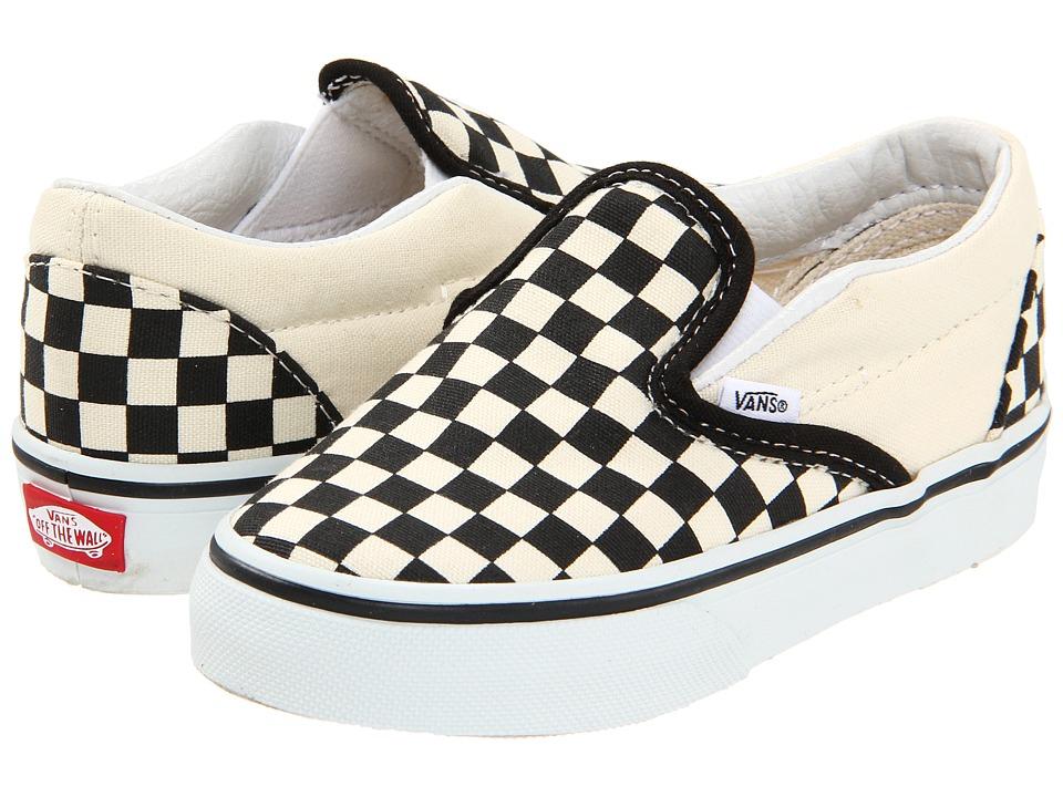Vans Kids Classic Slip-On Core (Toddler) (Black and White Checker/White) Kids Shoes