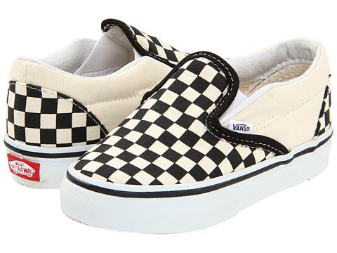 Vans Kids Classic Slip-On Core (Toddler) - Black and White Checker/White