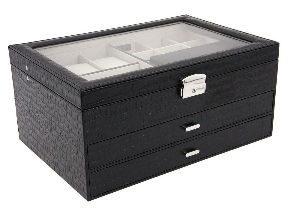 Mele Alana Faux Croc Jewelry Box Black Jewelry Boxes Small Furniture