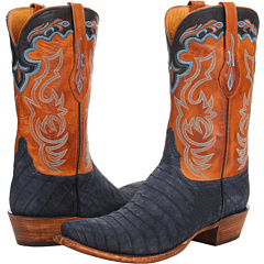 L1434 (Navy Suede Belly Caiman/Cognac Burnished Ranch) Cowboy Boots