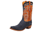 Lucchese - L1434 (Navy Suede Belly Caiman/Cognac Burnished Ranch) -