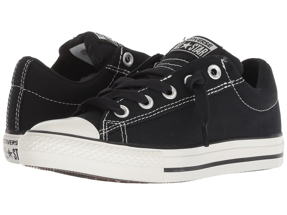 Converse Kids Chuck Taylor All Star Street Ox (Little Kid/Big Kid) (Black/Lily White) Kid