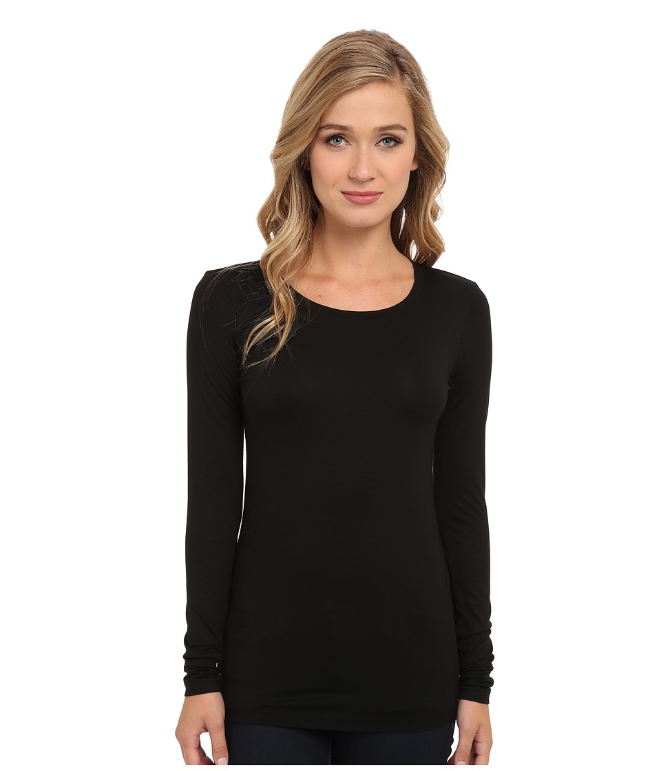 Three Dots Lightweight Viscose L/S Open Crew Neck (Black) Women