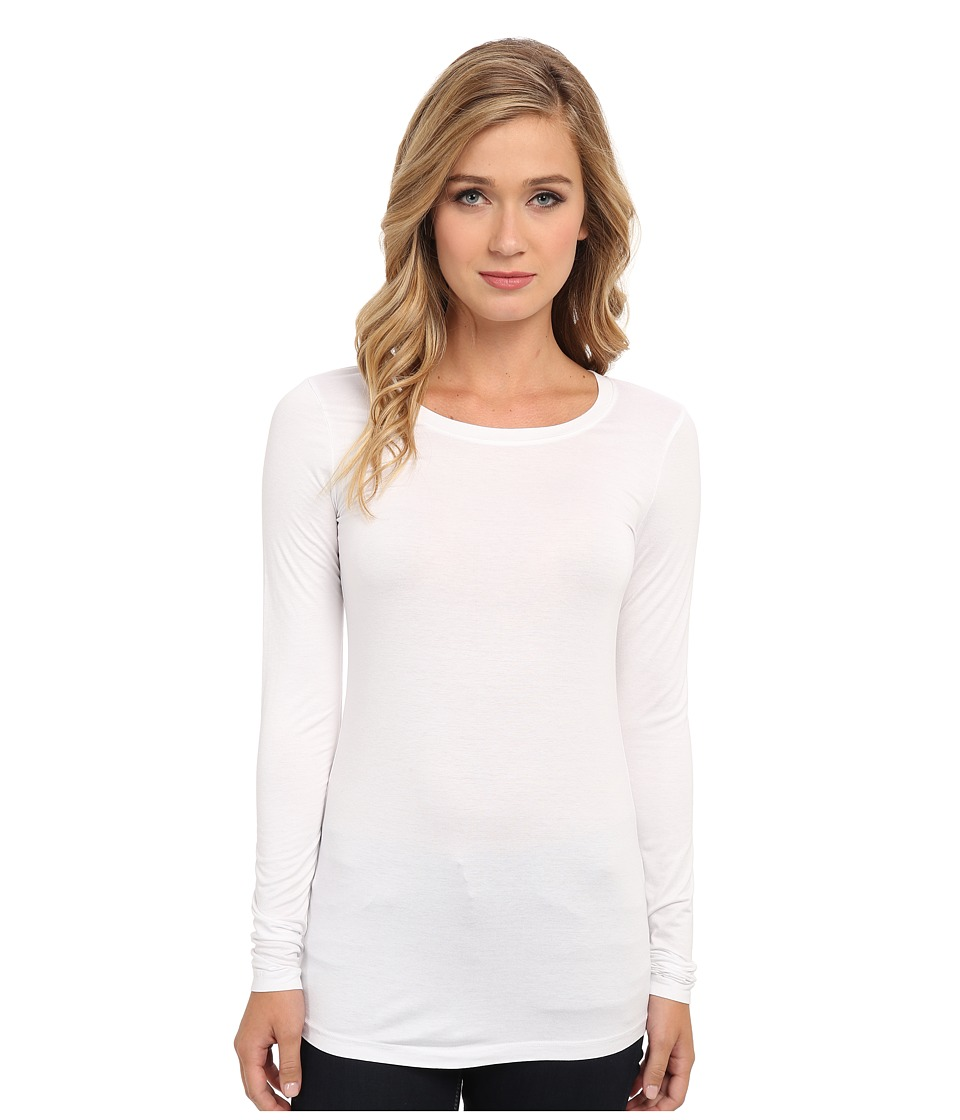 Three Dots - Lightweight Viscose L/S Open Crew Neck (White) Womens Clothing