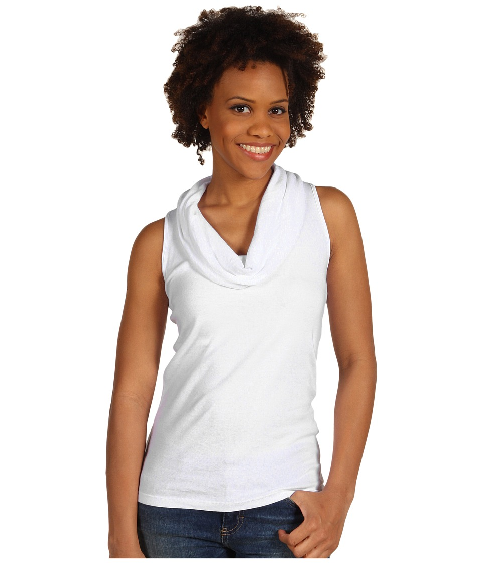 Three Dots - Cotton Knits Sleeveless Rolled Cowl Neck (White) Womens T Shirt