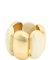 Kenneth Jay Lane - Satin Gold/white Agate Stretch Bracelet