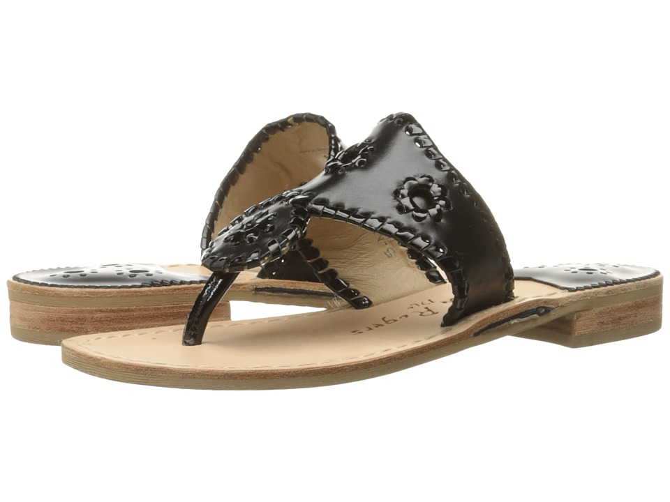 Jack Rogers Palm Beach (Black/Black Patent) Sandals