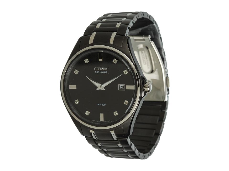 Citizen Watches - AU1054-54G Diamond Eco Drive Watch (Black/Silver/Diamonds and Black) Analog Watches