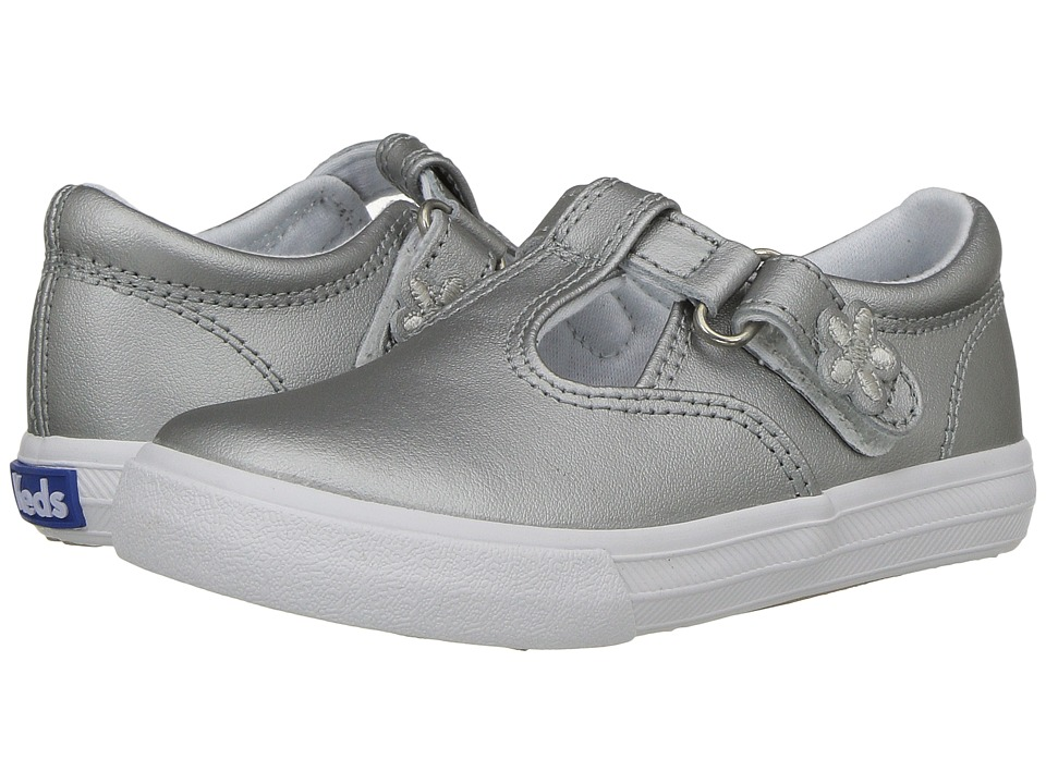Keds Kids Daphne T Strap Silver Toddler/Little Kid Silver Girls Shoes