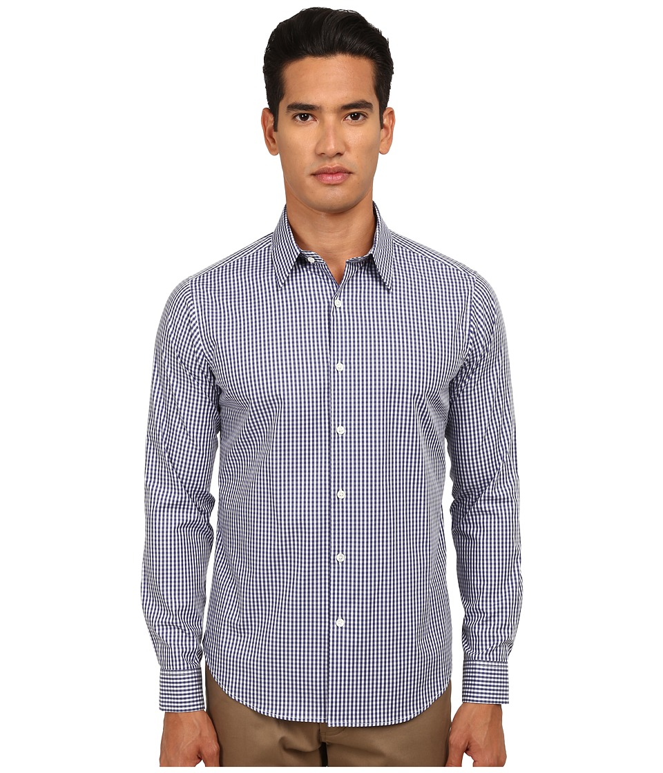 Theory Sylvain Amicable Navy Multi Mens Long Sleeve Button Up