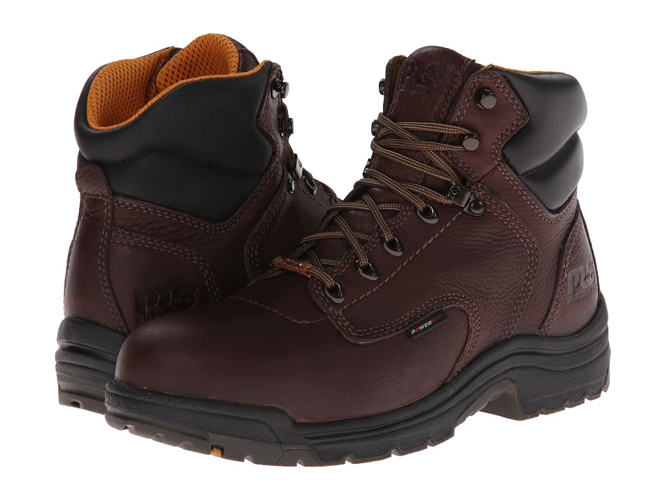 Timberland PRO - TiTAN Waterproof 6 Safety Toe (Dark Mocha Full-Grain Leather) Men