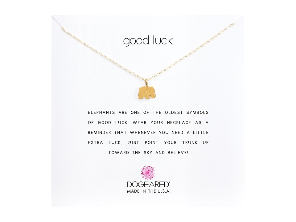 Dogeared - Good Luck Elephant Reminder Necklace (Gold Dipped) Necklace