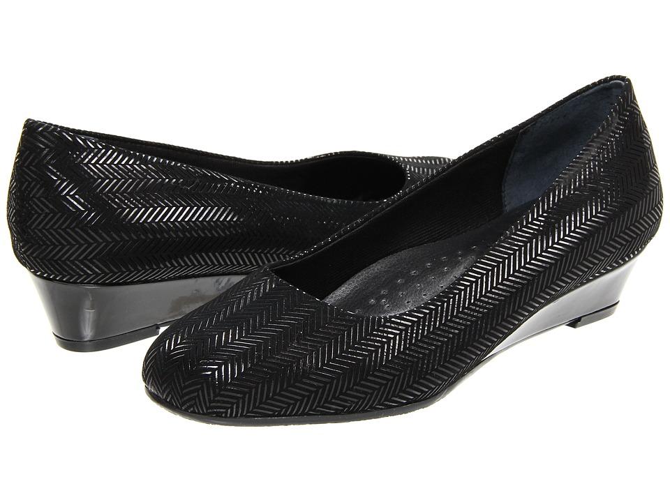Trotters - Lauren (Black Suede Patent Leather) Women
