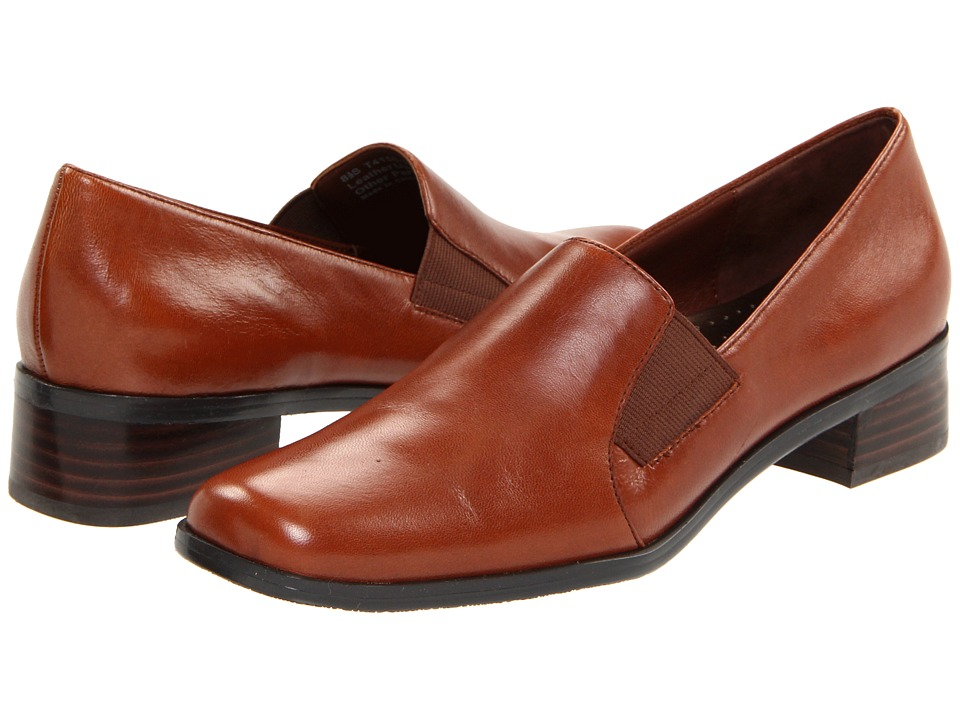 Trotters - Ash (Cognac Burnished Soft Kid Leather) Womens Slip on  Shoes