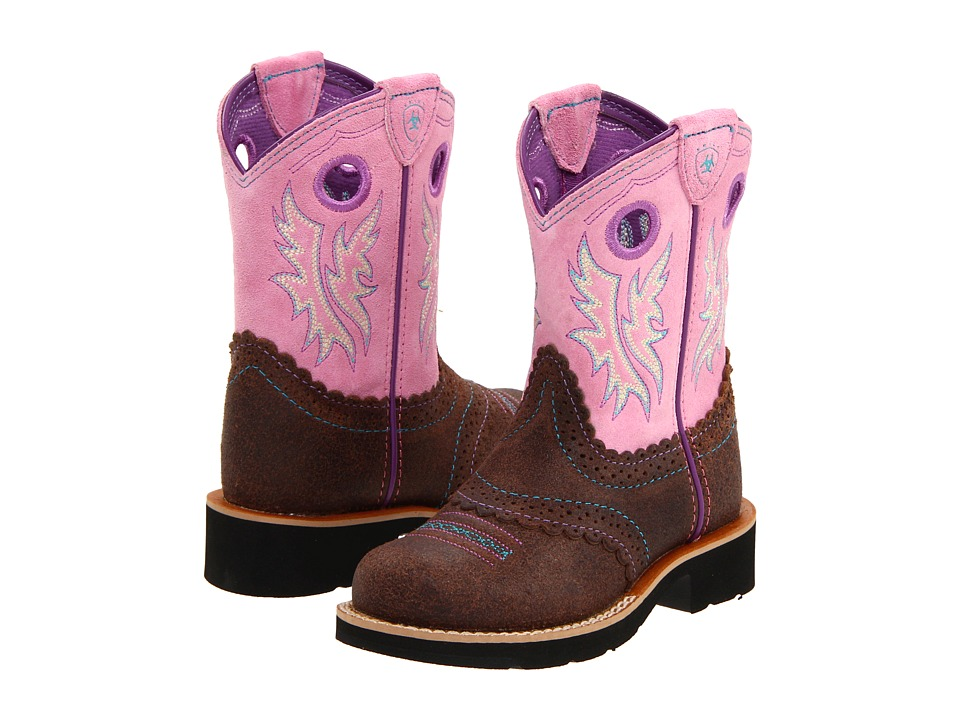 Ariat Kids Fatbaby Cowgirl Toddler/Little Kid/Big Kid Roughed Chocolate/Bubblegum Girls Shoes