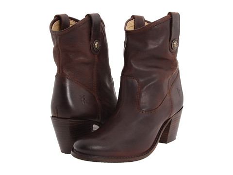 Shop Frye online and buy Frye Jackie Button Short Chocolate Soft Vintage Leather Shoes - Frye - Jackie Button Short (Chocolate Soft Vintage Leather) - Footwear: Grab your friends and get ready for an exquisite night out with the Frye Jackie Button Short boot. ; Long-lasting leather outsole, with square stacked heel and a rubber heel cap. ; Two pulls on the collar with a metal button. ; Metal hardware with an antique brass finish and Frye logo. ; Leather lined interior for a very smooth and plush climate. ; Cushioned leather insole for all-day comfort. ; Leather sole with rubber forepart. ; Imported. Measurements: ; Heel Height: 2 1 2 in ; Weight: 15 oz ; Circumference: 12 1 2 in ; Shaft: 8 in ; Product measurements were taken using size 7.5, width B - Medium. Please note that measurements may vary by size.