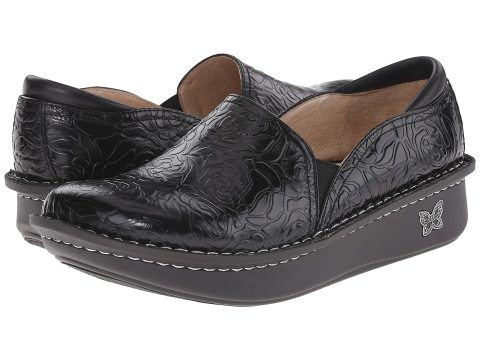 Image of Alegria - Debra Professional (Black Emboss Rose Leather) Women's Slip on Shoes