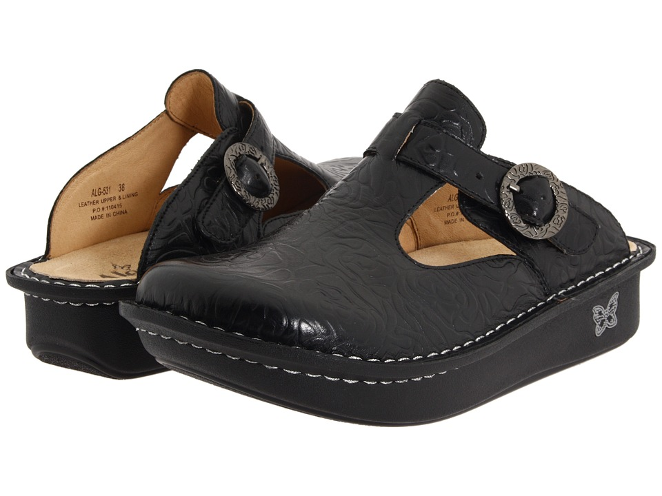 Alegria Classic (Black Emboss Rose Leather) Clogs