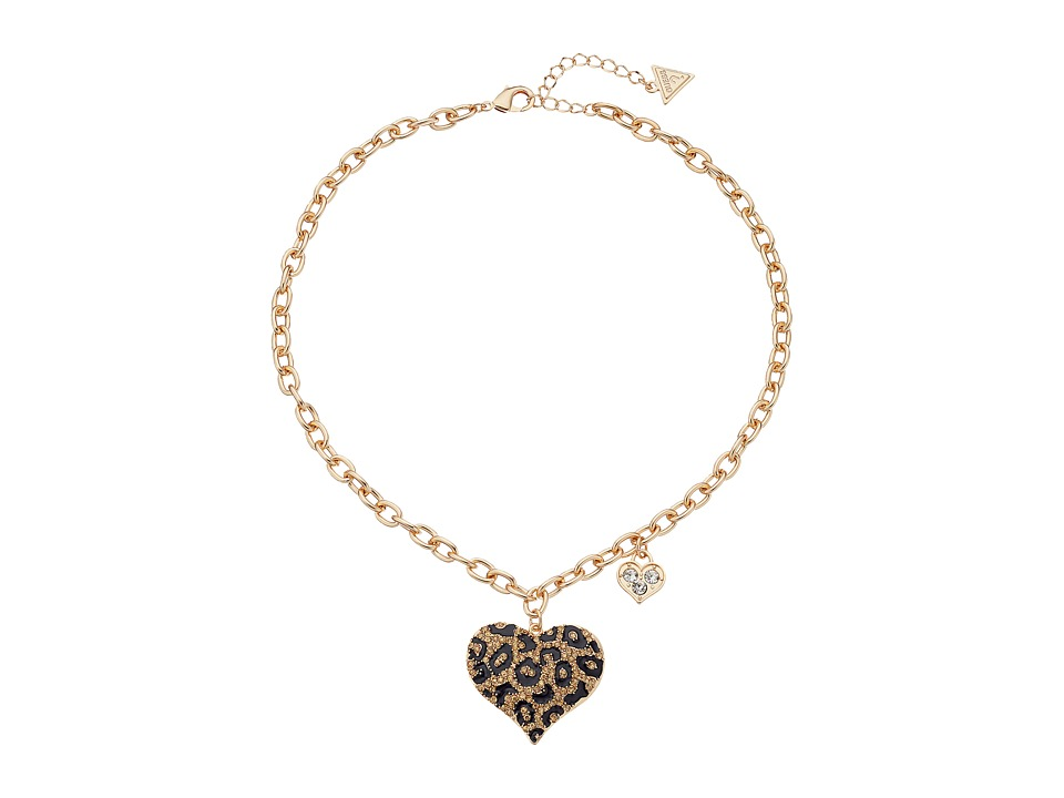 GUESS - Guess Gone Wild Animal Print Heart Necklace (Leopard/Gold) Necklace