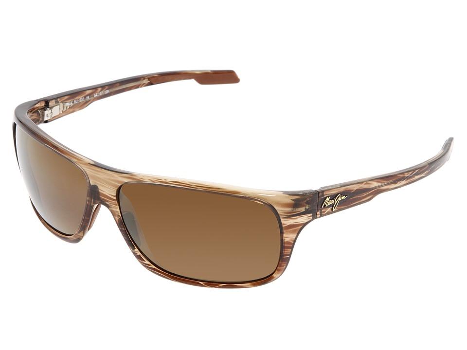 Maui Jim Island Time Striped Rootbeer/HCL Bronze Lens Sport Sunglasses