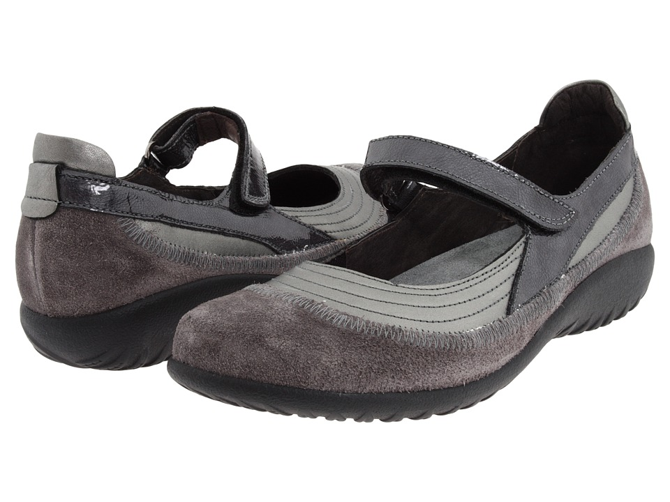Naot Kirei (Sterling Leather/Gray Suede/Gray Patent Leather) Maryjanes