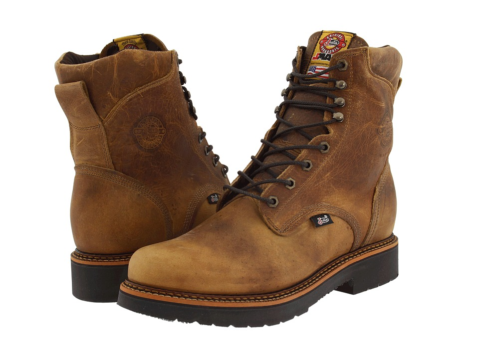 Justin - Blueprint 8 Lace Up Work Boot (Rugged Tan Gaucho) Mens Work Boots