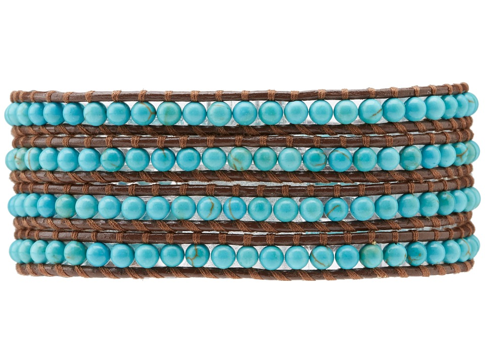 CHAN LUU Semiprecious Stone Wrap Bracelet (Turquoise) Bra...