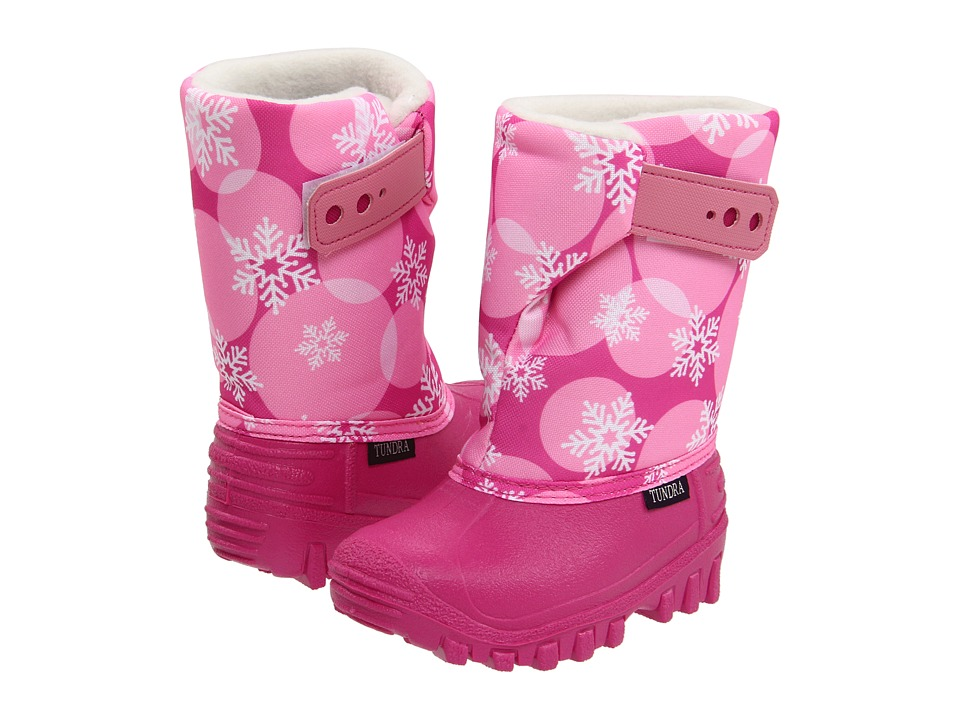 Tundra Boots Kids Teddy 4 Toddler/Little Kid Fuchsia/Pink Flakes Girls Shoes