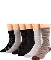 Ecco Socks - Rayon From Bamboo Fancy Stripe And Polka Dot Sock 6-Pack