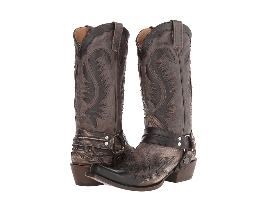 Stetson - Snip Toe Harness W/ Bleach Boot (Brown) Cowboy Boots