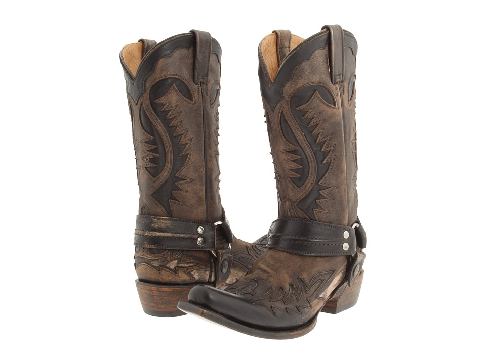 Stetson Snip Toe Harness W/ Bleach Boot (Brown) Cowboy Boots