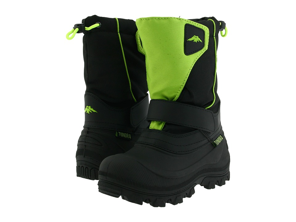 Tundra Boots Kids - Quebec Wide (Toddler/Little Kid/Big Kid) (Black/Lime Green) Boys Shoes