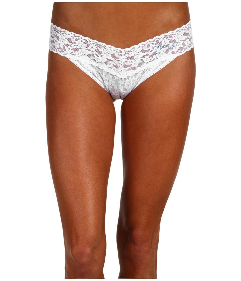 Hanky Panky - Mrs. Original Rise Bridal Thong (White / Black / Tan) Women's Underwear