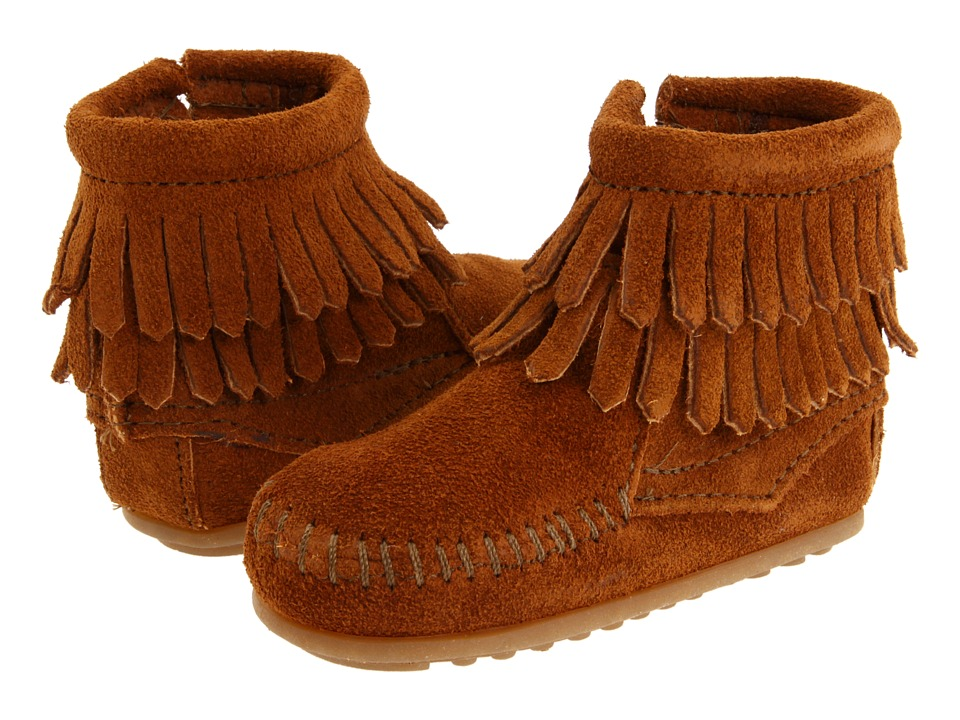Minnetonka Kids Double Fringe Side Zip Bootie Infant/Toddler Brown Suede Girls Shoes