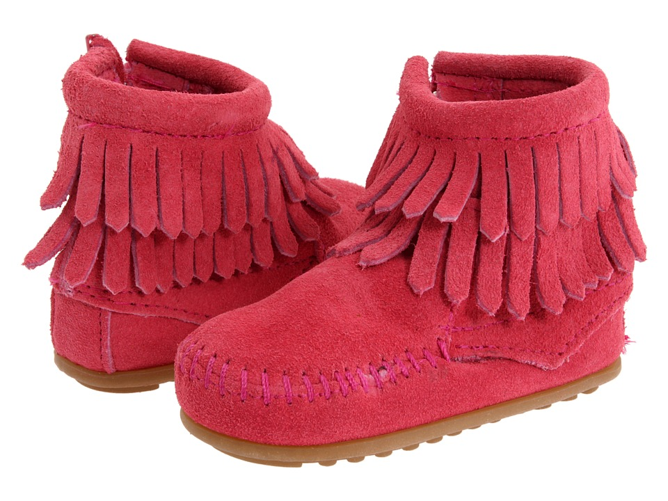 Minnetonka Kids Double Fringe Side Zip Bootie Infant/Toddler Hot Pink Suede Girls Shoes