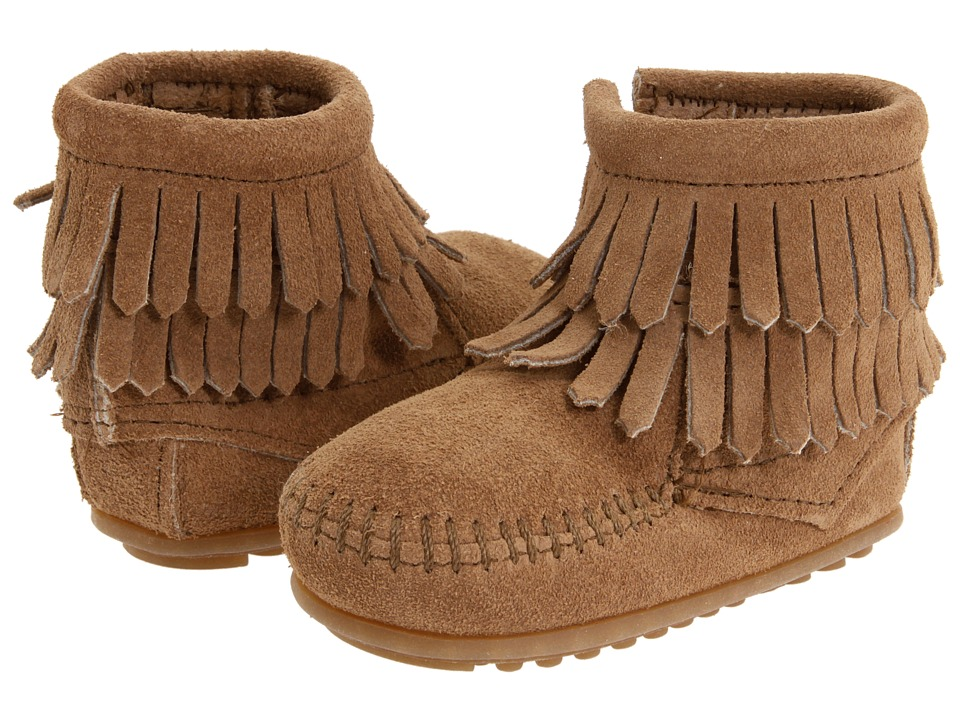 Minnetonka Kids Double Fringe Side Zip Bootie Infant/Toddler Taupe Suede Girls Shoes