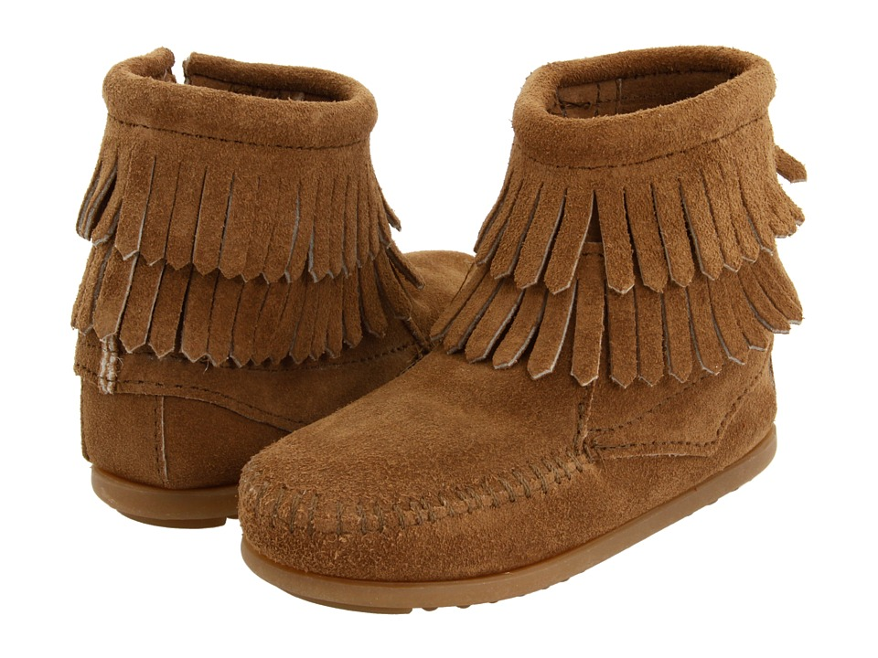 Minnetonka Kids Side Zip Double Fringe Toddler/Little Kid/Big Kid Taupe Suede Girls Shoes