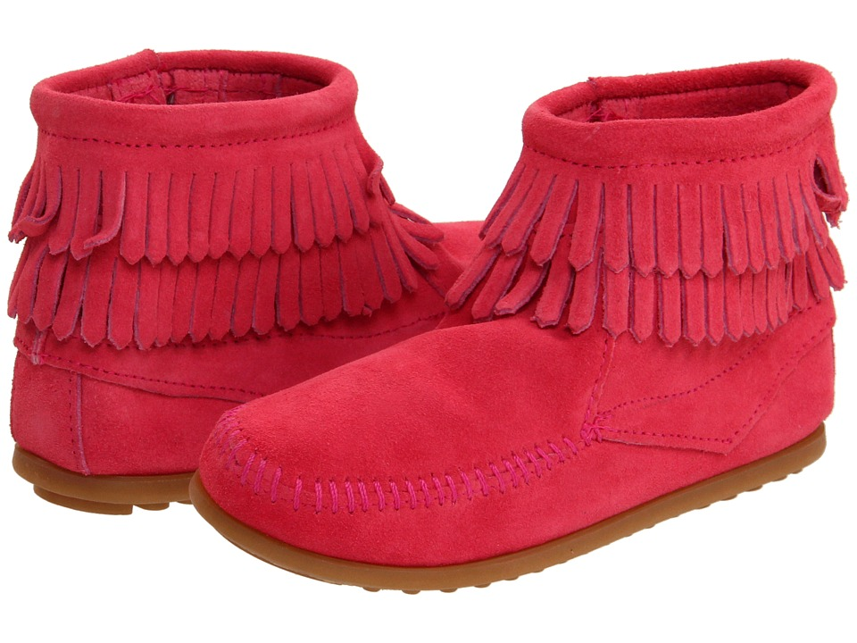 Minnetonka Kids Side Zip Double Fringe Toddler/Little Kid/Big Kid Hot Pink Suede Girls Shoes