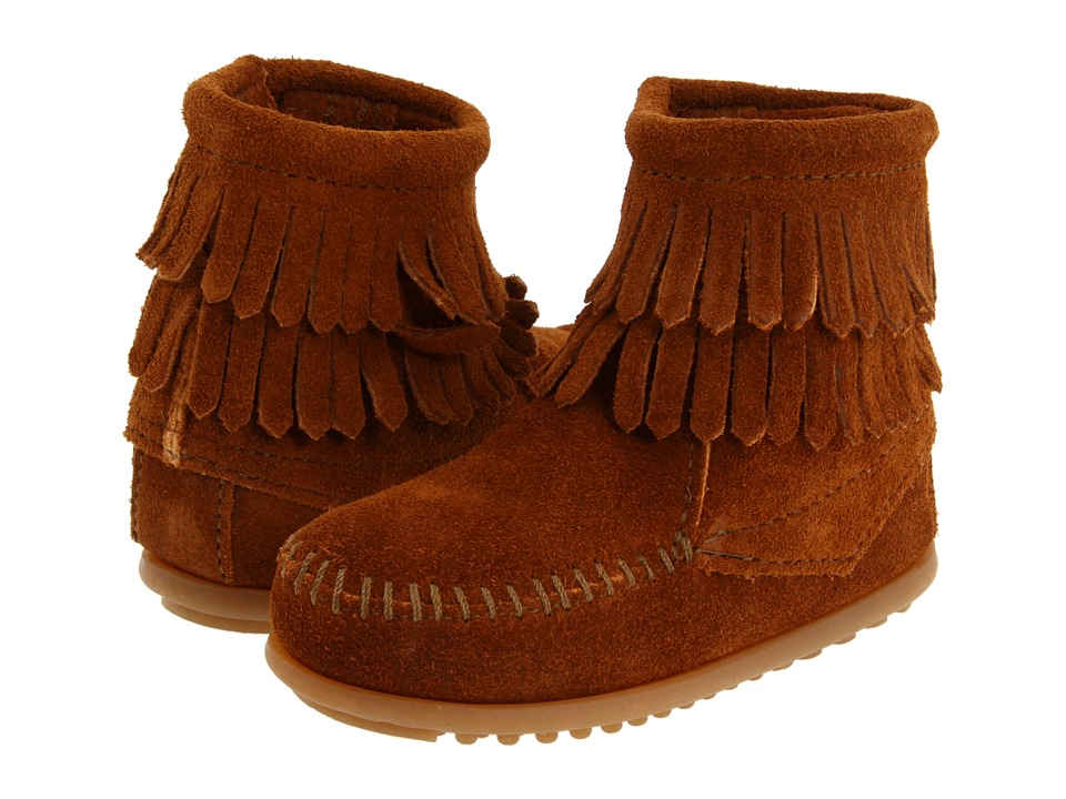 Minnetonka Kids Side Zip Double Fringe Toddler/Little Kid/Big Kid Brown Suede Girls Shoes