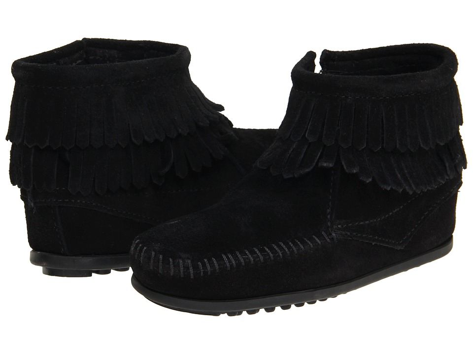Minnetonka Kids Side Zip Double Fringe Toddler/Little Kid/Big Kid Black Suede Girls Shoes